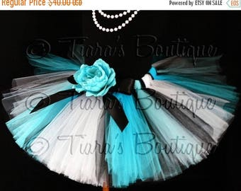 SUMMER SALE 20% OFF Alice Design - Custom Sewn Blue Black and White Tutu Inspired by Alice in Wonderland - size newborn to 5T