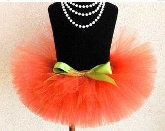 """SUMMER SALE 20% OFF Orange Tutu - Sewn Tutu - Pumpkin Tutu - Ready to Ship - 8"""" Girls Tutu - sizes Newborn to 5T - Photo Prop for Girls"""