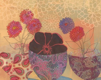 Paisley Pots and Zinnias blank greeting card