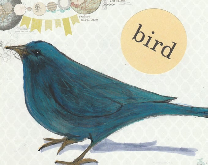 bird artsy card blank inside