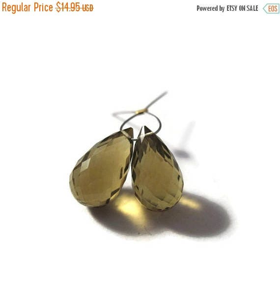 Summer SALEabration - Two Olive Quartz Beads, 2 Matching Gemstone Briolettes, Large Gemstones for Jewelry Making 13x8mm x 14x9mm (Pt-Oq1)