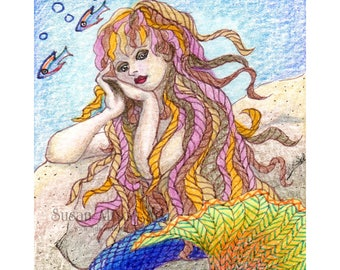 Mermaid 8x10 print magic fairy fantasy under the sea of the deep siren song little mermaid mythology from Susan Alison watercolour painting