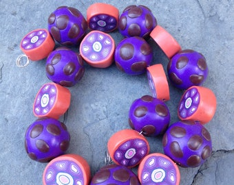 Set of Purple Coral and Brown Round Shaped Beads Handmade Polymer Clay Artisan Jewelry Supplies
