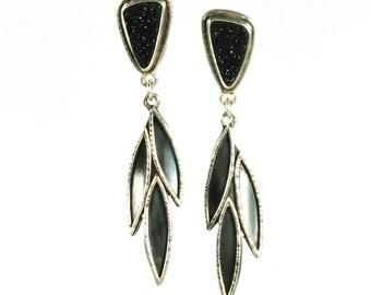 Black Druzy Leaf Drop Earrings