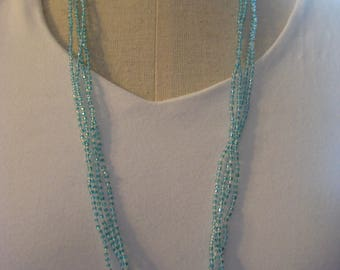 Necklace, Multi strand seed bead Necklace in blue and crystal