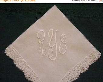 ON SALE Classic  Monogrammed Hanky with Gift Box