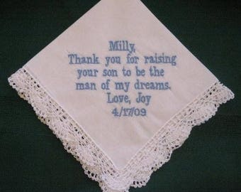 ON SALE Mother of the Groom with Gift Box 87B with shipping in the Us Personalized Wedding Handkerchief