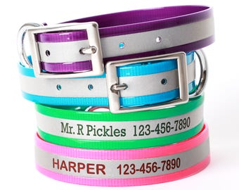 Personalized Reflective Dog Collar - Laser Engraved Dog Collar - Soft Dog Collar - Hunting Dog Collars -  Waterproof Dog Collar - 6 COLORS