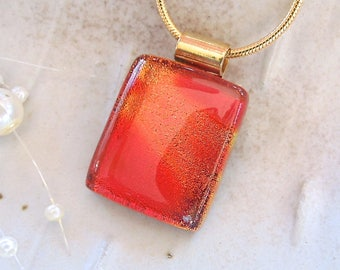Petite, Orange Necklace, Red, Dichroic Pendant, Fused Glass, Glass Jewelry, Necklace Included, A7