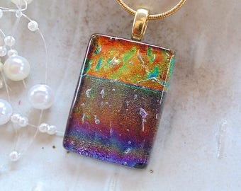 Dichroic Pendant, Necklace, Glass Jewelry, Gold, Brown, Copper, Rainbow, Necklace Included, A3