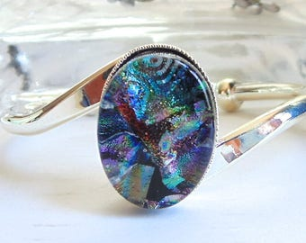 Silver Plated Dichroic Glass Cuff Bracelet, Teal, Purple, Green, One of a Kind