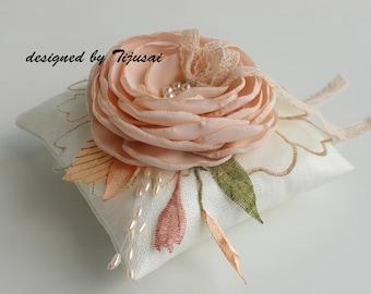 Wedding ring bearer pillow with light peach flower ---wedding rings pillow , ring bearer pillow