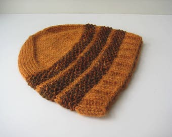 golden orange hand knit wool hat