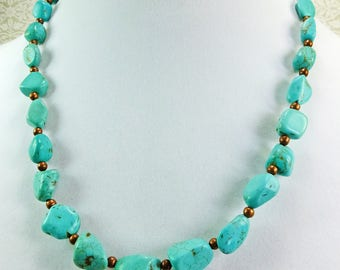 Mangasite Chips Dyed Turquoise and Antique Copper Spacer Beads Necklace 20 inch Length