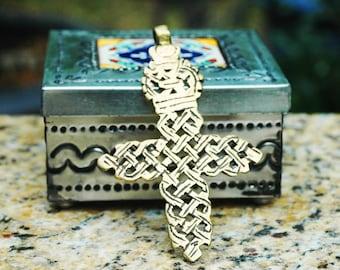"Large Vintage Ethiopian Brass Coptic Cross Pendant ~ 96mm (3.75"")"