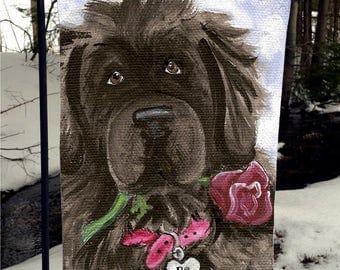 "Black Newfoundland Dog ""Be Mine"" 12"" by 18"" GARDEN FLAG by Amy Bolin"
