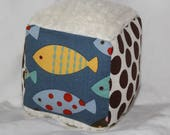 Small Blue Odyssea Fish Boutique Block Rattle Toy