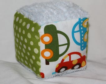 Small Ready, Set, Go Cars Chenille Fabric Block Rattle