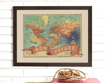 Bon Voyage, Vintage Map  Art, Framed World Travel Map Lithograph