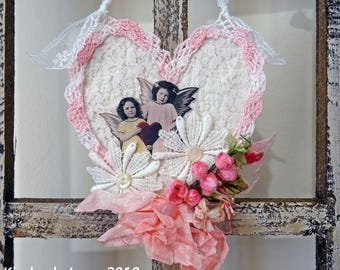 Valentine heart - mixed media - hanging ornament - decoration - NO023