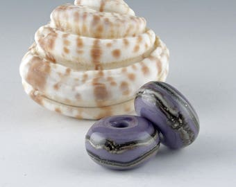 Lampwork Glass Beads, Handmade Lampwork, Jewelry Supplies, Handmade Bead, Artist Lampwork, Lampwork Bead Pair, earring bead pair, Purple