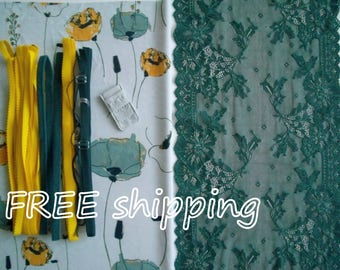 FREE Ship DIY Fabric + Notions Shades of Teal & Yellow Flowers for 1 BRA + Panty by Merckwaerdigh