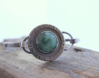 Emerald Sterling Silver Bangle Bracelet