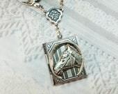 Silver Locket Necklace - Silver Equestrian Book Locket - Horse Locket - by BirdzNbeez