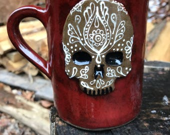 Ceramic Sugar Skull Mug in Maroon