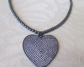 Hematite Beaded Necklace with Heart Pendant