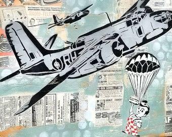 Big Boy Drop Mixed Media Graffiti Art Painting on Photo Transfer Original Art on Handmade Canvas Home Decor Pop Art Vintage Plane