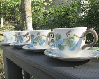"Vintage Metlox Poppy Trail Pottery - Four ""Blue Sculptured Grape"" Cups and Saucers - Made in California - 1960s"