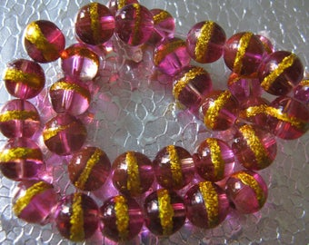 Berry and Gold  Glass Beads  8mm -  70  Foil Painted Beads