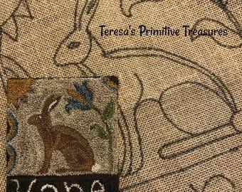 Hooked Rug Pattern Linen Prim Hare
