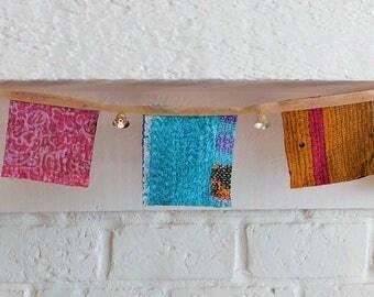 Vintage Kantha Quilt Bunting Festive Garland Handmade Prayer Flags