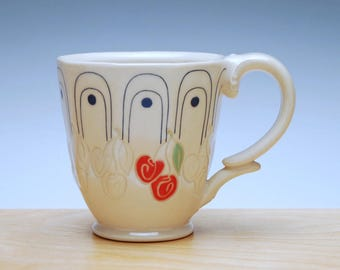 Cherries Deco mug in Ivory w. Colorized & Navy detail, Victorian mod mug