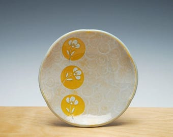 Little plate in Tangerine & Frost Gloss w. Polka Dot Floral