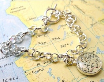 SUMMER SALE Two Sided Charm Vintage Map Toggle Sterling Silver Charm Bracelet.  You Select the Journey's.