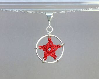 Stars, red silk necklace, sterling silver