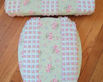 turquoise toilet seat cover. Vintage Pink Rose Chenille Toilet Seat Cover Set Retro toilet seat  Etsy