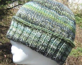 green wool ribbed hat, hand knit, hand spun