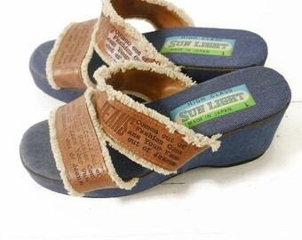 Spring Sale Wide Width 9 80s Denim Platform Wedge Slip On Vegan Leather Sandals 9 Wide// 96