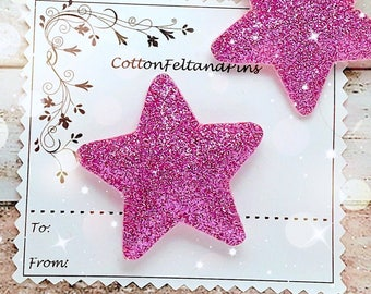 Hair Clips Powder Pink glitter star hair clip or hair tie, padded star barrette, Pink star hair slide, glitter star hair bobbles