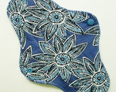 "10.5"" Cotton Regular Cloth Menstrual Pad, Blue White Flowers Floral, Adult Incontinence Pad Reusable Sanpro CSP, Plus Size Pad Moon Mama Pad"