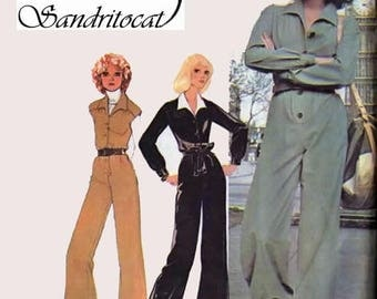 ON SALE Vintage 1970s Military Jumpsuit Sewing Pattern McCalls 4753 Retro 70s Pattern Size 10 Bust 32.5
