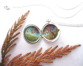 Tiny Oil Painting in Silver Locket, Fairy Hobbit Treehouse, Hand-Painted Original