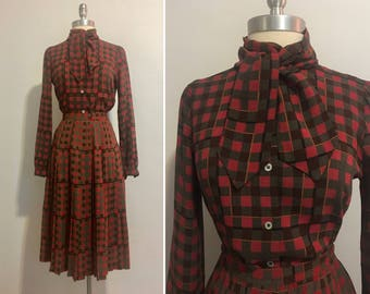 Vintage 1970's Chic Pierre Cardin Pleated Skirt and Blouse Set Size 8