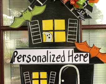 Front door decor, Halloween decorations, Halloween door hanger, Halloween wood sign