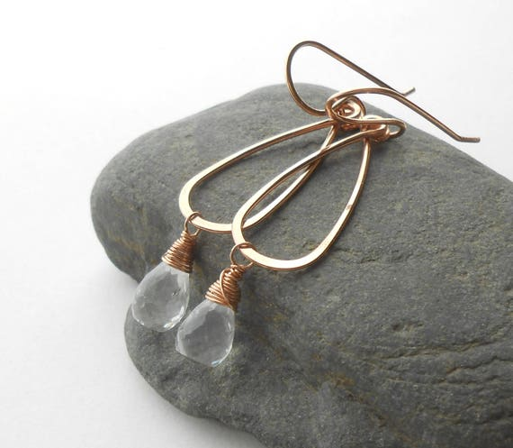 Rose Gold Drop Earrings With Crystal Quartz Briolettes, Gold Filled Gemstone Dangle Earrings