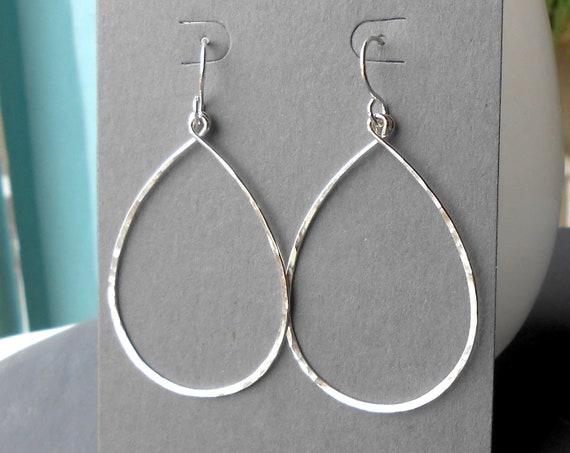 Large Sterling Silver Teardrop Dangle Hoop Earrings